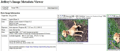 EXIF data from dog photo