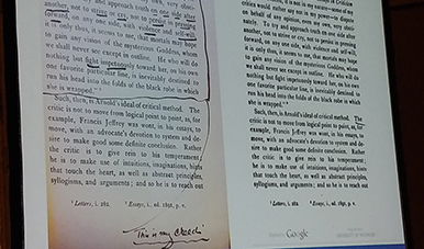 Three Studies in Literature annotated by former University of Virginia President Edwin Alderman on the left, compared to a pristine copy downloaded from Google Books