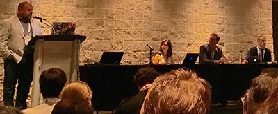 User experience panel, from left: Dave Cobb, RUSA President Anne M. Houston, John Blyberg, and Steven Bell