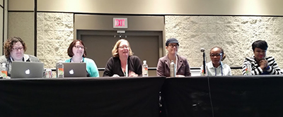 Panel, from left: Evviva Weinraub, Michelle Frisque, Jenn Riley, Karen Estlund, Monique Sendze, Brandy McNeil