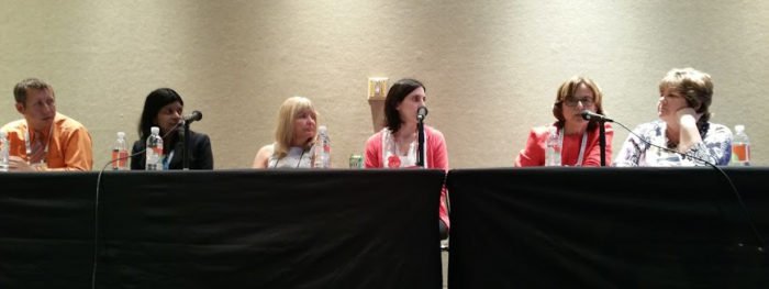 "The ""Write Stuff"" panel, from left: Carl Harvey II, Mega Subramaniam, Nancy Everhart, Meg Featheringham, Deb Levitov, and RoseMary Honnold"