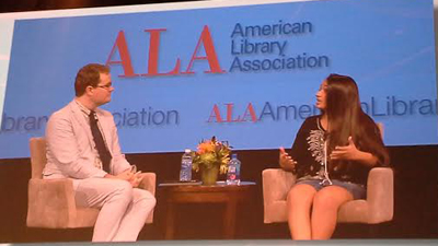 Jazz Jennings speaks with Chris Shoemaker, library director at the Rye (N.Y.) Free Reading Room, at the ALA Annual Conference and Exhibition in Orlando, Florida.