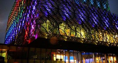 Rainbow display on Library of Birmingham