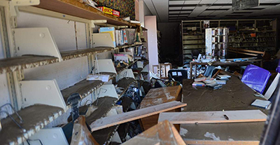 Damage to the Clendenin branch of the Kanawha County (W.Va.) Public Library