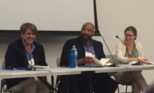 At the 2016 Rare Books and Manuscripts conference, three panelists discuss outreach with special collections. From left: Christoph Irmscher, Pellom McDaniels III, and Sarah Werner.