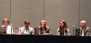 Panelists (from left) Barbara Hoffert, Ari Berman, Elizabeth Lesser, Lydia Reeder, and Chris Smith