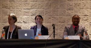 Three panelists from Sunday's Top Tech Trends program. From left: Lauren Comito, Laura Costello, and Nick Grove