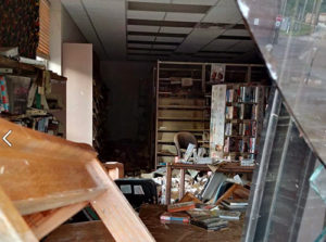 Chaos inside the flooded Clendenin branch of the Kanawha County (W.Va.) Public Library.