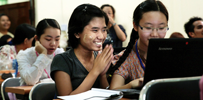 Students learn to use e-resources at the University of Yangon, Myanmar