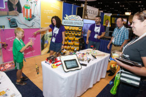 Products related to makerspaces, like these from TeacherGeek, had a strong presence this year.