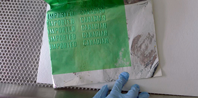 Taking a sample of mold using an adhesive slide
