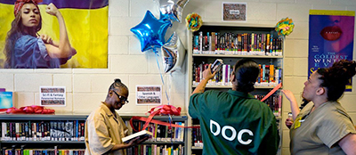 The library at the Rikers Island correction facility