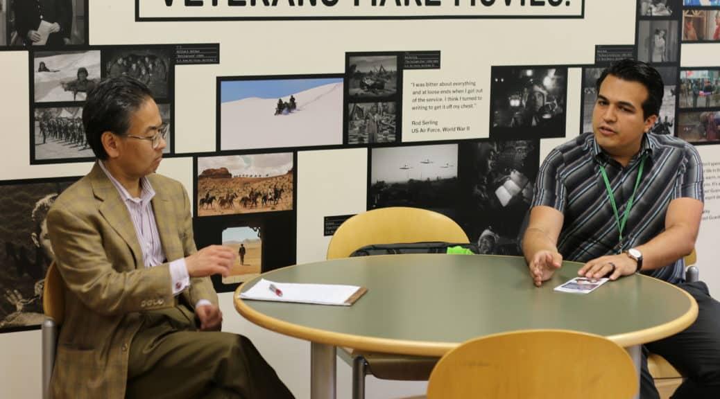 Alan S. Inouye talks with Los Angeles Public Library's Edwin Rodarte about Veterans Make Movies.