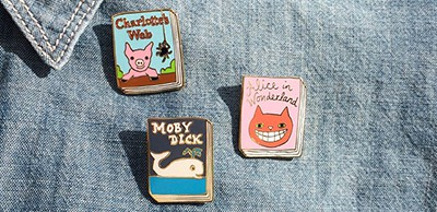 Jane Mount's enamel book pins