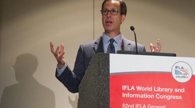 """Dan Cohen, executive director of the Digital Public Library of America, speaks at """"Brave New World: The Future of Collections in Digital Times,"""" a program at the IFLA 2016 World Library and Information Congress in Columbus, Ohio."""