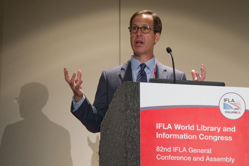 "Dan Cohen, executive director of the Digital Public Library of America, speaks at ""Brave New World: The Future of Collections in Digital Times,"" a program at the IFLA 2016 World Library and Information Congress in Columbus, Ohio."