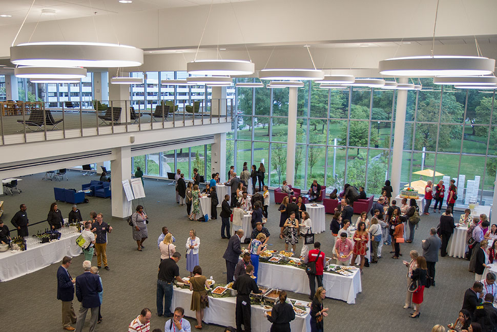 After the program, the fellows took a bus to the newly renovated Main Library of the Columbus Metropolitan Library. The reception was held in the new reading room that overlooks a topiary garden.