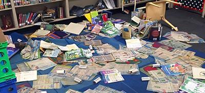 Damaged books in Glen Oaks Park Elementary School library, Baton Rouge