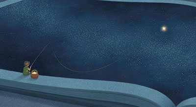Jungho Lee's illustration showing a youngster fishing for a star within a book