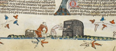 Detail of a man with loaves in a basket and a baker putting loaves in an oven or taking loaves out of an oven, Royal MS 10 E IV, f. 145v
