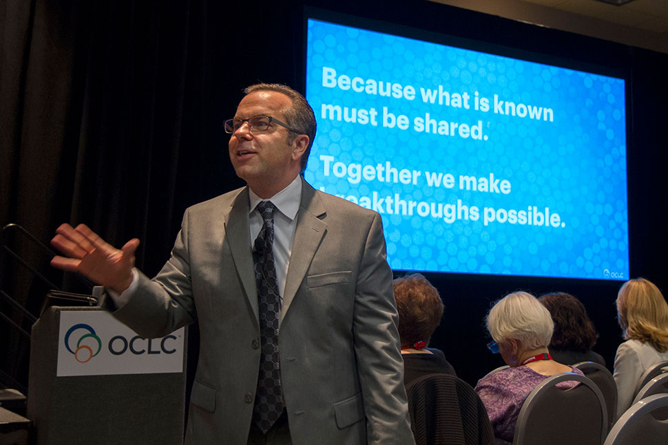 Skip Prichard, president and CEO of OCLC, addresses the crowd at the Industry Symposium during the International Federation of Library Associations and Institutions' World Library and Information Congress in Columbus, Ohio, August 14.