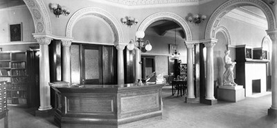 The reference desk area inside the Pomona (Calif.) Public Library, ca. 1900