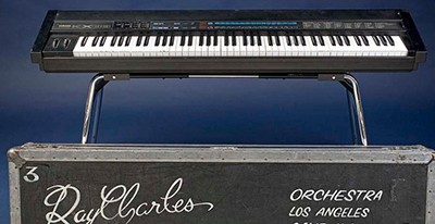 While on tour in the 1980s and 1990s, Ray Charles played this Yamaha KX88 electronic keyboard MIDI controller, customized with Braille