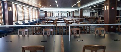 The Grand Reading Room in the newly renovated Silverman Library at University at Buffalo, which is opening after a $7 million overhaul