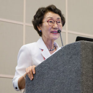 Sook Won Shin, chair of the Presidential Committee on Library and Information Policy of the Republic of Korea.