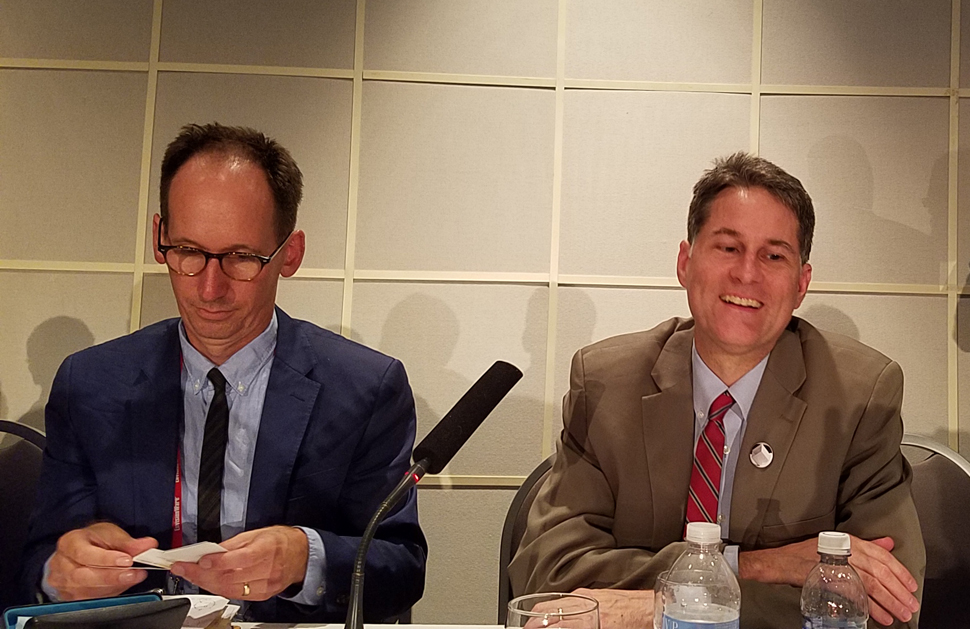 Garrett Scott (left), an antiquarian bookseller in Ann Arbor, Michigan, and Edwin C. Schroeder, director of the Beinecke Rare Book and Manuscript Library at Yale University, presented their recommendations on preventing and uncovering theft in libraries.