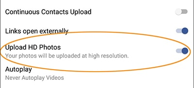 "In the Android version of the Facebook app, turn on ""Upload HD Photos"" in the settings to make your uploaded pictures look better"