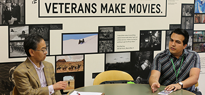 Alan S. Inouye talks with Los Angeles Public Library's ‎Edwin Rodarte about Veterans Make Movies