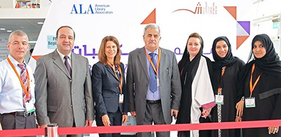 From left: Khaled Ahmad Halloume, Hassan Momani, ALA Past President Sari Feldman, Jassim M. Jirjees, Asmah Saad Assim, Muna Abdulla, and Azeyaa Ahmed at the 2015 SIBF/ALA Library Conference