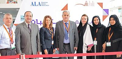 From left: Khaled Ahmad Halloume, Hassan Momani, ALA Past President Sari Feldman, Jassim M. Jirjees, Asmah Saad Assim, Muna Abdulla, and Azeyaa Ahmed at the 2015 SIBF/ALA Library Conference