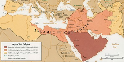 CIA map, 1993, Age of the Caliphs, 7th century. From the Norman B. Leventhal Map Center