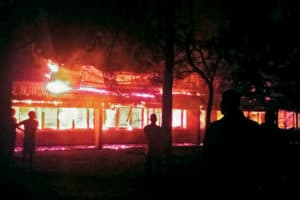 A fire destroyed the library of Mzuzu University in Malawi in 2015. Photo: TEAM Malawi