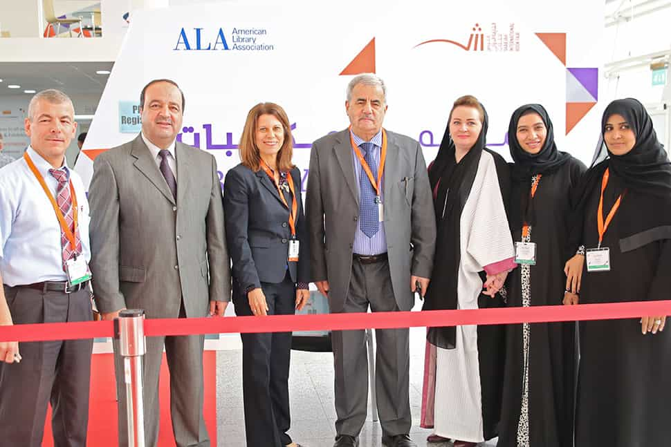 From left: Khaled Ahmad Halloume, Hassan Momani, ALA Past President Sari Feldman, Jassim M. Jirjees, Asmah Saad Assim, Muna Abdulla, and Azeyaa Ahmed at the 2015 SIBF/ALA Library Conference. Photo: ALA International Relations Office