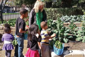 Claudia Alstrom, president of the Adult Library Garden Club at Sacramento (Calif.) Public Library's Rancho Cordova branch, teaches children about vegetables in the Read and Feed garden. Photo: Sacramento (Calif.) Public Library