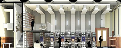 Henry Myerberg's design for the Philip Roth collection of books at the Newark Public Library