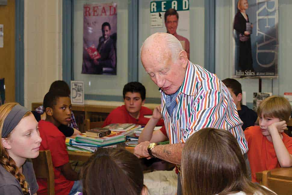 Holocaust survivor Severin Fayerman, who died in 2015, shows his ­Auschwitz tattoo to students at Southern Middle School in Sinking Spring, Pennsylvania.