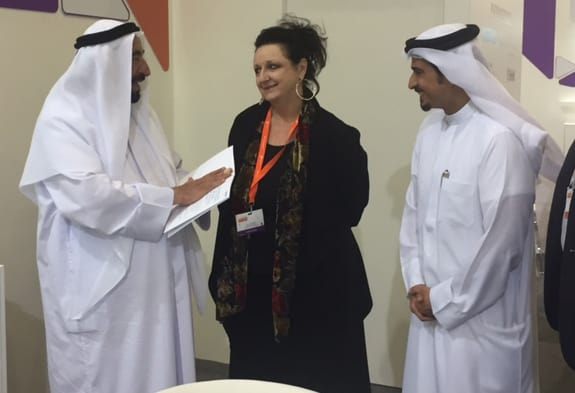 ALA President Julie Todaro (center) chats with His Highness Sheikh Dr. Sultan bin Mohamed Al Qasimi (left) and SIBF Director and Sharjah Book Authority Chairman Ahmed Al Ameri.