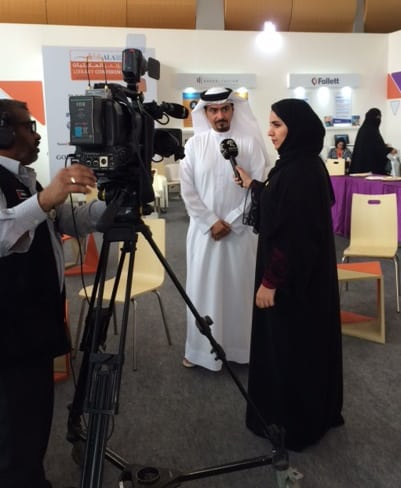 SIBF Director and Sharjah Book Authority Chairman Ahmed Al Ameri is interviewed in the Librarians' Lounge.