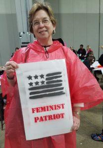 Sarah Pritchard of Northwestern University in Evanston, Illinois, at the Women's March in Atlanta.