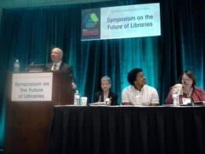 (From left) Stephen Harmon, AASL president Audrey Church, Jeffrey Martín, ACRL president Ann Campion Riley