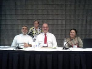 The panel, from left: Fred Stielow, Susan J. Schmidt, Peter Pearson, Sally Gardner Reed