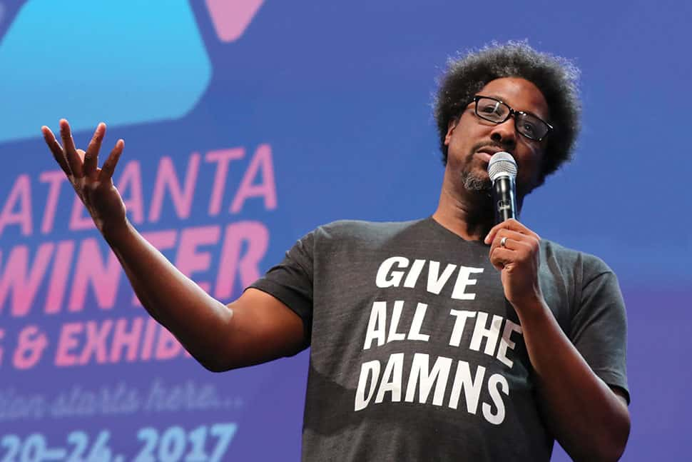 W. Kamau Bell addresses the audience as the opening speaker at the 2017 American Library Association Midwinter Meeting & Exhibits