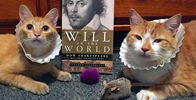 "At Centre County (Pa.) Library and Historical Museum, librarian Lisa Shaffer posts pictures of her cats to the library's Facebook and Twitter accounts for ""Saturday Caturday."" Here, Marmie and Horatio celebrate Shakespeare's birthday. Photo by Lisa Shaffer"