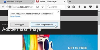 Flash add-on in Firefox