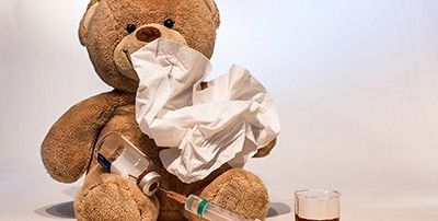 Teddy bear with cold