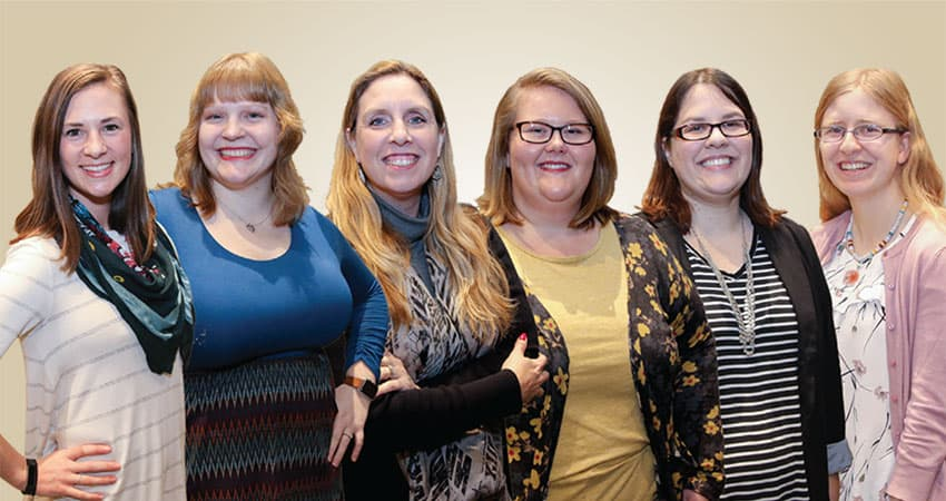 "Sponsor: American Association of School Librarians (AASL)Project: Advocacy Impact of AASL Every Student Succeeds Act WorkshopsTeam B (from left): Samantha Hull, Melody Townley, Denise Tabscott, Cristin M. Dillard, Melissa Ray, Shannon DeSantis""I see the future of the school library profession becoming more technology- and collaboration-based. Our knowledge must expand past children's literature to understanding new teaching applications, teaching digital citizenship, finding reliable resources, and providing professional development for our district. We must become the experts to implement and troubleshoot new technology while expanding our libraries as spaces for student collaboration. Future librarians will need to study and adapt to what their districts need while continuing to provide students access to the information and books they need to learn.""—Melissa Ray"